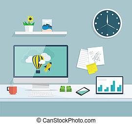 Flat desktop of web and graphic design development office