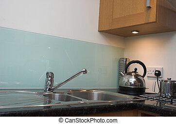 flat, detail, keuken