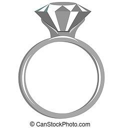 Flat Diamond Ring - Large diamond ring in white gold