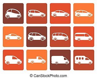 Flat different types of cars icons - Vector icon set