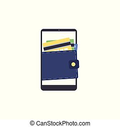 Flat digital wallet concept vector illustration isolated on white background.