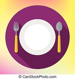 Flat Dinner Plate spoon Fork