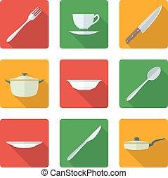 flat dinnerwarwe icons set