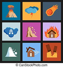 Flat disaster, damage vector icons