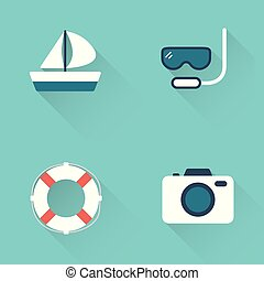 Flat diving sport icons on blue background