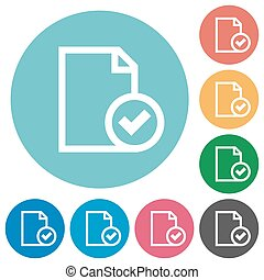 Flat document accepted icons