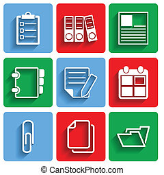 Flat Document Office Icons with Shadow