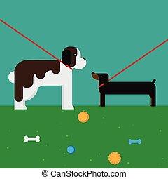 flat dog characters set, cartoon pet animal collection, st bernard and dachshund on the walk