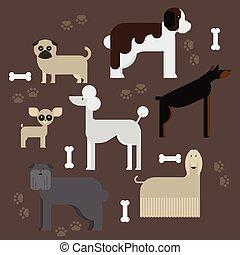 flat dog characters set, cartoon pet animal collection chihuahua, doberman, mastiff, afgan greyhound, st bernard, pug, poodle, dachshund