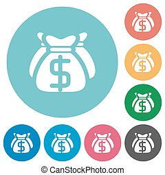 Flat dollar bags icons