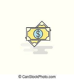 Flat Dollar Icon. Vector