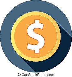 Flat dollar icon with long shadow. vector illustration