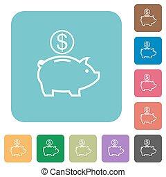 Flat Dollar piggy bank icons