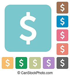 Flat dollar sign icons