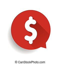 Flat dollar sign speech bubble