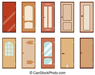 Flat door isolated on white background. A set of vector icons.