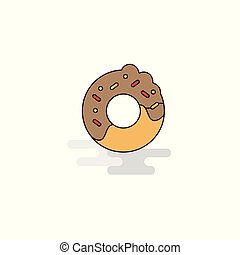 Flat Doughnut Icon. Vector