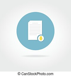 Flat download document icon