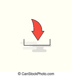 Flat Downloading Icon. Vector