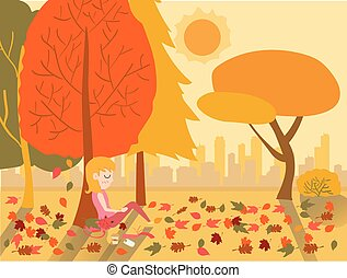 flat drawing vector cute girl sleeping under a tree in warm Autumn season