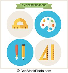 Flat Drawing Website Icons Set