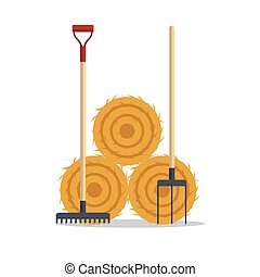 Flat dried haystack with hayfork and rake isolated on white ...