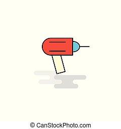 Flat Drill Icon. Vector