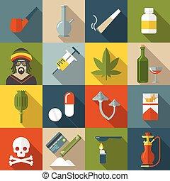 Flat Drugs Icon Set