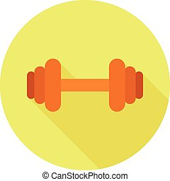 Flat dumbbell icon with long shadow