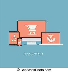 Flat e-commerce vector icons set co