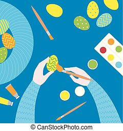 Flat Easter paint class. Top view of art equipment colors, brush and palette on a table. Creative Eggs painting Workshop. Cartoon greeting card and postcard