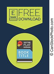 Flat Ebook free download icon. Vector button