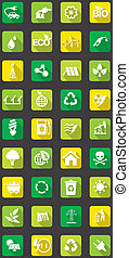 flat eco icons - vector set of flat icons concerning to ...