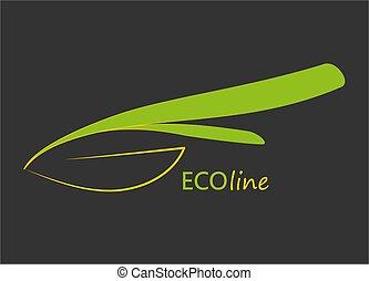Flat Eco logo. Vector green leaf icon on dark