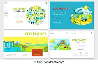 Flat Ecology Websites Set