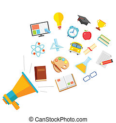 illustration of education icon in flat style coming out of megaphone