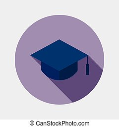 Flat education graduate hat icon