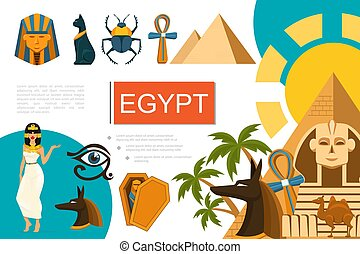 Flat Egypt Symbols Composition