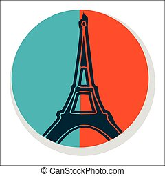 Flat Eiffel Tower Icon - Sticker Isolated on White