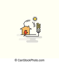 Flat Electric power Icon. Vector