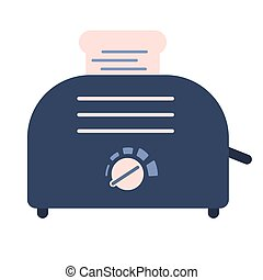 Flat electric toaster icon, sandwich equipment