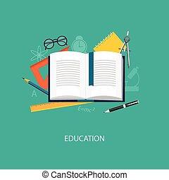 flat elements of education - Flat design modern vector...