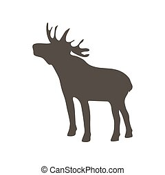 Flat Elk Isolated on White Background. Vector Illustration.