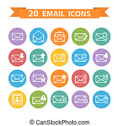 Flat Email icons set