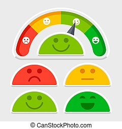 Flat emotions mood scale vector of set