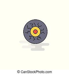 Flat Eye ball Icon. Vector