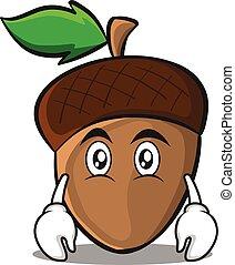 Flat face acorn cartoon character style