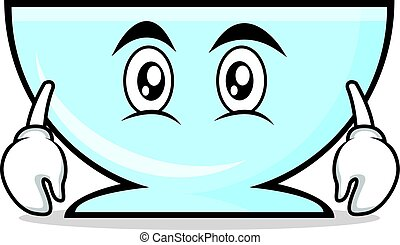 Flat face bowl character cartoon style