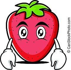 Flat face strawberry cartoon character