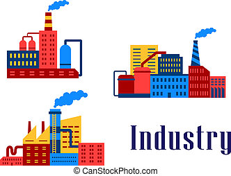 Flat factory industrial buildings set, suitable for industrial and ecology design